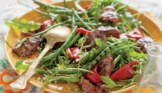 Chargrilled green bean and chicken liver salad. With arugula, roasted red peppers. Baking Recipes, Healthy Recipes, Healthy Food, Simply Recipes, Simply Food, Chicken Livers, Roasted Red Peppers, Recipe Search, Green Beans
