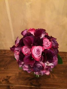 plum calla lilies, moon series carnations and roses- plum is the color this year!