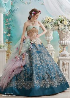 Its hard to resist this gorgeous gown from Pla Cole Wedding featuring striking colors adorned with delicately feminine embellishments! Ball Dresses, Ball Gowns, Prom Dresses, Robes Disney, Bridal Gowns, Wedding Gowns, Fairytale Gown, Fantasy Dress, Embellished Dress