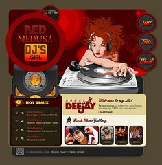 Red Medusa Flash Templates by Delta Dj Website, One Page Website, Flash Templates, Website Template, Music Bands, Red, Rouge, Bands