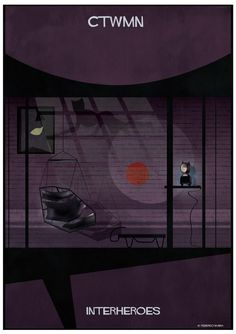 federico babina imagines the living spaces of some of the most iconic superheroes in the history of comics for the series 'interheroes'. Space Series, Collage Illustration, Poster Series, Catwoman, Wolverine, Architecture, History, Comics, Interiors