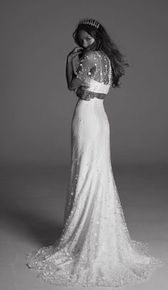 Romantic two piece sequin embellished wedding dress; Featured Dress: Rime Arodaky