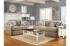 Love the wall color. Addison - Khaki Living Room Set Love it. Cozy, comfortable, not fussy. Love the blue walls and white trim too. Living Room Sets, Living Room Collections, Furniture Layout, Living Room Designs, Room Set, Coastal Living Rooms, Living Decor, Home Decor, Living Room Furniture