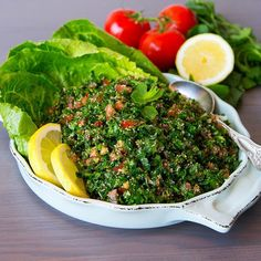 This bulgur wheat tabbouleh is the easiest vegan side dish ever and takes just a few ingredients. Bbc Good Food Recipes, Veggie Recipes, Vegetarian Recipes, Healthy Recipes, Healthy Salads, Healthy Food, Spiced Cauliflower, Bulgur Salad, Aloo Gobi