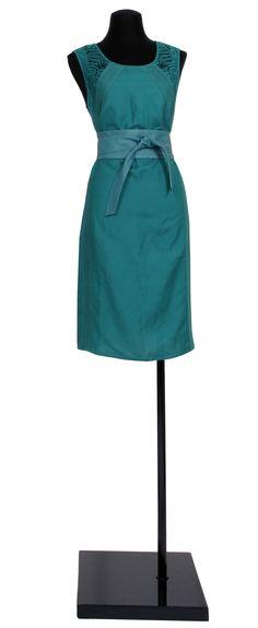 1.2.3 Paris - Robe Ness 129€ Ceinture Odile 59€ #emeraude #lin #vert #dentelle #guipure #cuir #mode #printemps #ete #123