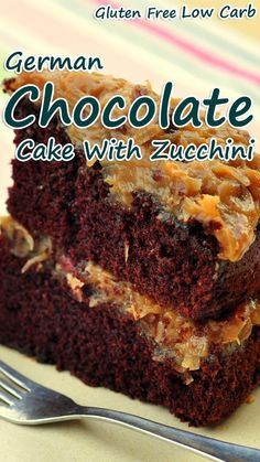 A delicious gluten free chocolate zucchini cake topped with coconut pecan frosting. This coconut flour based low carb cake is super moist and flavorful.German Chocolate Cake With Zucchini. Coconut Flour Cakes, Coconut Pecan Frosting, Cake Flour, Coconut Flour Chocolate Cake, Vanilla Frosting, Cake Chocolate, Almond Flour, Sugar Free Chocolate Chips, Gluten Free Chocolate