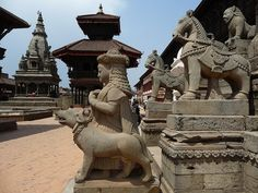 Temple figures detail in Bhaktapur, City of Devotees, Nepal