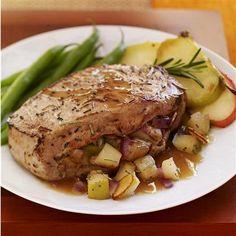 Honey-Rosemary Stuffed Pork Chops with steamed green beans