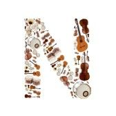 Similar:12070923 : Musical instruments alphabet on white background. Letter N