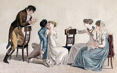 Many parlor games, particularly at Christmas, provided a way for younger members of society to overstep the bounds of propriety. Jane Austen, Caricatures, Historical Fiction Authors, Parlor Games, 1800s Fashion, Vintage Fashion, Pose, Regency Era, Empire Style