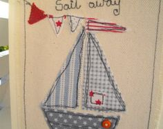 Boys Nautical Birthday Picture, Machine Embroidered Boat Picture.Handmade card