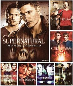 All 7 Seasons of SPN DVD covers.