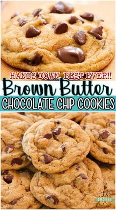 Incredible Brown Butter Chocolate Chip Cookies with the BEST flavor ever! These'll be your NEW FAVORITE chocolate chip cookie recipe; the brown butter adds a delicious caramel flavor that everyone loves. #cookies #butter #brownbutter #baking #easyrecipe from FAMILY COOKIE RECIPES Brown Butter Cookies, Butter Chocolate Chip Cookies, Butter Cookies Recipe, Best Sugar Cookies, Yummy Cookies, Delicious Cookie Recipes, Best Cookie Recipes, Baking Recipes, Dessert Recipes