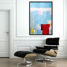 Large Abstract Painting  39 on paper. Original Art by DUEALBERI, $175.00