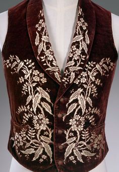 England, Waistcoat, c. 1850,   silk, cotton, leather, metal  65.5 cm (centre back), 51.5 cm (waist, flat)  National Gallery of Victoria, Melbourne