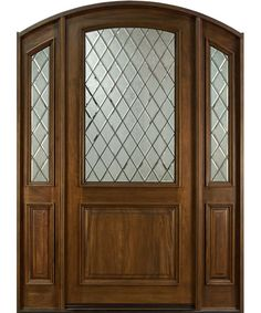 French Mahogany Solid Wood Front Entry Door - Single with 2 Sidelites - GD-552WDG 2SL