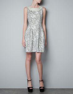 DRESS WITH DIAMANTE APPLIQUÉ ON NECKLINE - Dresses - Woman - ZARA United States