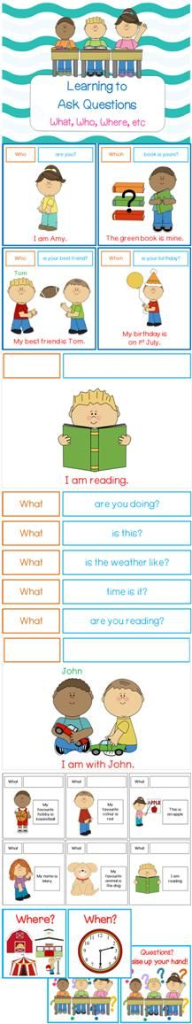 $ Question Formation Pack (Learn about Question Format & Question Words). This package teaches children the question words (Eg. Who, Where, Why, etc.) and the format of asking different types of questions related to these question words (Eg. Who are you? Where are you, etc) . Over 50 different questions are included! Repinned by SOS Inc. Resources pinterest.com/sostherapy/.