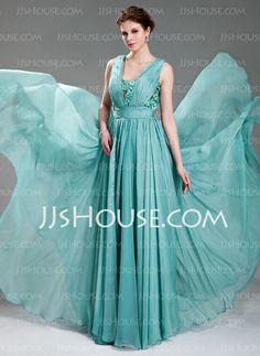 A-Line/Princess V-neck Floor-Length Chiffon Evening Dress With Ruffle Beading Appliques (017019725) $150.49