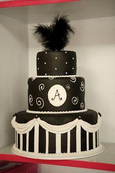 black cake with white