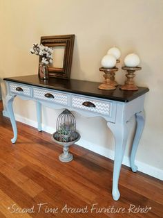 Console/Sofa Table Refinished in Shabby Paints Lillian Grey and Dark Roast Gelato Stain. Shevron pattern stenciled on each drawer