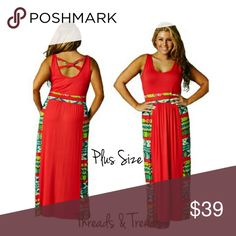"""PLUS SIZE: Coral Maxi Tank Dress Plus size coral sundress with Aztec print color blocking. Featuring criss cross detail on back. Scoop neckline. Made of rayon and spandex. Size large, XL, XXL LENGTH 58""""                                                   Large bust 38"""" to 46""""                                                 XL bust 40"""" to 48""""                                                      XXL 42"""" to 50"""" vintage Threads & Trends Dresses Maxi"""