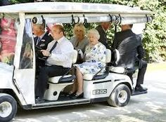 Queen Elizabeth II travels by golf cart with Camilla, Duchess of Cornwall (C) and Prince Charles, Prince of Wales (L) on the first day of the Coronation Festival in the grounds of Buckingham Palace on 11 July 2013 in London, England. Princess Anne, Princess Margaret, Golf Auto, Kate Middleton, Cambridge, British Royal Family Members, Hms Queen Elizabeth, Die Queen, Zara Phillips