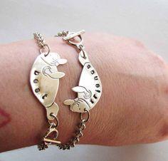 best friends manatee bracelet set - silver personalized custom bff jewelry