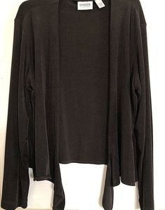 f80ffc6dbb950 Chico s Travelers Women s Size 2 Solid Black Long Sleeve Cardigan Wrap NWOT