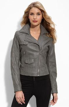 Leather jacket in gray