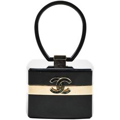 Pre-Owned Chanel Fall 2004 Runway Black Gold Tone Lucite Plexiglass CC... (101.800 ARS) ❤ liked on Polyvore featuring bags, handbags, black, top handle handbags, acrylic box clutch, lucite box clutch, evening purses and evening handbags