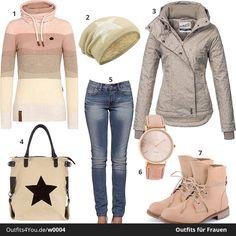 Schönes Outfit in Hellbraun, Apricot und Melange. Warmer Pullover von Naketano und schicke Jacke von Sublevel. Dazu gibt es eine Oozoo Armbanduhr, Mütze und Tasche mit Stern und Schnürboots.  #naketano #sublevel #outfits #style #fashion