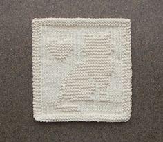 CAT & HEART Knit Dishcloth / Wash Cloth. 100 by AuntSusansCloset, $6.50