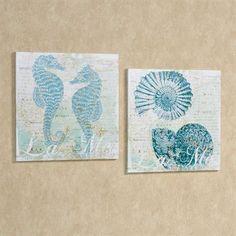 Emergent Beauty Canvas Art Aqua Set of Two Love Oil, Wall Art Sets, Wall Art Designs, Coastal Decor, Aqua, Canvas Art, Watercolor, Shell, Beauty