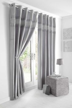 SILVER GREY & DIAMANTE PANEL - LINED CURTAINS WITH EYELET RING TOP 66 x 72""