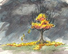 """Against the blackened sky  The autumn leaves illuminate  while  Raindrops pelt, weighing heavy,  Until the struggle is no more…  then  A descending swirl – the last dance.    Getting swept up in the season last night, I made this sketch.  When my daughter came home she yelled, """"I HATE THIS WEATHER!"""" Then slammed the door.  """"Funny…"""" I said, """"I love it so much I'm painting it right now!"""""""