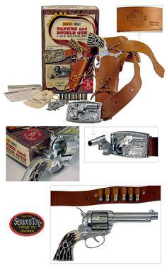 """Shootin' Shell Fanner and Buckle Gun 2 Gun Holster Set"""", 1958, Mattel"""