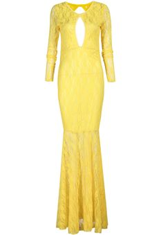 Yellow Long Sleeve Backless Lace Maxi Dress 18.83