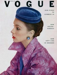 Suzy Parker photographed by John Rawlings for the cover of Vogue, April 1952.   Source: pinterest.com  #vintage #suzy parker #1950s #fashion #john rawlings