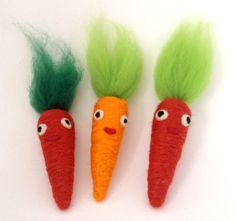 Set of 3 Needle Felt Carrot Felt Play Food Eco by moonforest