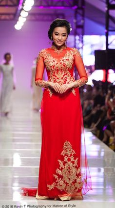 Vietnamese-American designer, Jacky Tai, sends his bridal collection of wedding ao dai's and wedding gowns down the catwalk at Viet Fashion Week Fashion Week 2016, Ao Dai, Bridal Collection, Catwalk, Wedding Gowns, Thailand, Runway, Formal Dresses, Photography