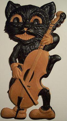 Vintage German Halloween Diecut Cat with Bass