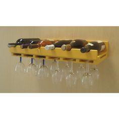 Porta Taças e Prateleira Adega New Suspenso de Parede para Vinhos Bares - Amarelo