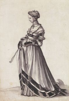 Basel Woman Turned to the Left, costume study. Pen and ink and brush, grey wash, × cm 1523 Kunstmyseym Basel Hans Holbein the Younger Die Renaissance, Renaissance Fashion, Renaissance Clothing, Italian Renaissance, 1500s Fashion, Basel, Historical Costume, Historical Clothing, Boho Hippie