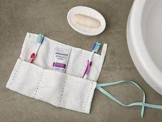 Tutorial DIY: Uszyj z ręcznika etui na szczoteczki do zębów przez DaWanda.com