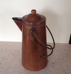 Tall Double Handle Copper Coffee Pot by ContemporaryVintage, $40.00