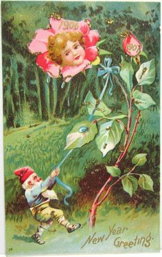 Gnome Pulling on Flower w Girls Face in Flower Fantasy Embossed Postcard Vintage Happy New Year, Happy New Years Eve, Postcard Art, Vintage Fairies, Vintage Flowers, Images Victoriennes, New Year Postcard, Flower Pictures, Costumes