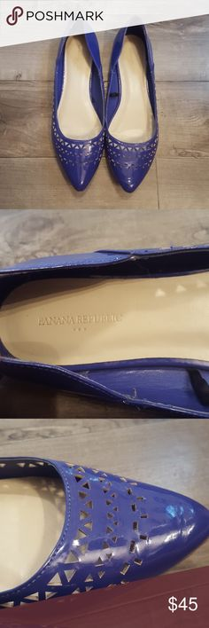 Banana Republic cut out ballet flats size 9 Banana Republic factory cut out ballet flats size 9. Color is a purple/cobalt blue mix. Worn only a couple of times. Banana Republic Shoes Flats & Loafers