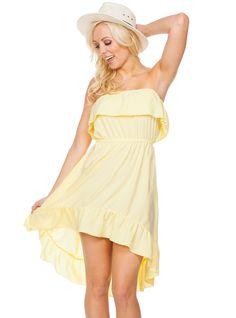 Flirty Tube Dress with Ruffle Ruffle Trim, Ruffle Dress, Strapless Dress, Couture Looks, Tube Dress, Clothing Company, Yellow Dress, Boutique Dresses, Wholesale Clothing