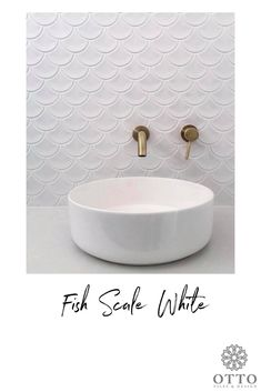 Fish Scale White Ceramic Fish Scale Tile - There are a special production process and craftsmanship for our handmade ceramic fish scale tiles. Bathroom Tile Designs, Bathroom Layout, Bathroom Interior Design, Bathroom Trends, Boho Bathroom, White Bathroom, Small Bathroom, Guest Bathrooms, Luxury Bathrooms